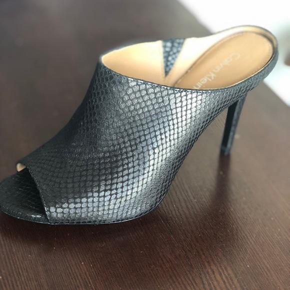 348f30fd40a Cute backless peep toe, black, snakeskin, heels